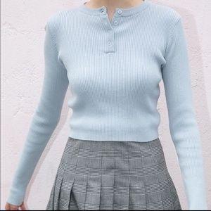 NWT Brandy Melville Delilah Knit Top Light Blue OS